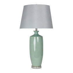 """Lamps Plus - Coastal Ettlebruck Seafoam Green Ceramic Table Lamp - Cool inviting ceramic table lamp. Ettlebruck Green glaze finish. Gray fabric shade. Round base. Polished metal base and details. Ceramic and metal construction. Three-way switch. Takes one maximum 150 watt 3-way or equivalent bulb (not included). 35"""" high. Shade is 14"""" wide on top 18"""" wide on the bottom and 12"""" high. Base is 7 3/4"""" wide.   Cool inviting ceramic table lamp.  Ettlebruck Green glaze finish.  Gray fabric shade.  Round base.  Polished metal base and details.  Ceramic and metal construction.  Three-way switch.  Takes one maximum 150 watt 3-way or equivalent bulb (not included).  35"""" high.  Shade is 14"""" wide on top 18"""" wide on the bottom and 12"""" high.  Base is 7 3/4"""" wide."""