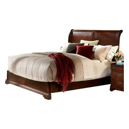 Homelegance - Homelegance Greenfield Sleigh Bed in Cherry - Queen - The Greenfield collection takes the refined features of classic lines and creates a modern update of traditional design. Clipped corners and routed pilasters blend the classic lines of the top and base moldings while the antiqued bronze finish hardware, featuring an elegant garland motif with drop ring pull, further accent each case piece. Book-matched veneer accents the head and footboard creating a focal point for the collection . cherry and birch veneers are accentuated in a luxurious cherry finish that further exemplifies the traditional feel of this set.