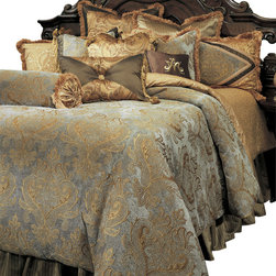 AICO Furniture - Elizabeth King 13-piece Comforter Set - Traditional European Motif. Aqua/Gold Color Scheme. 1 Comforter, 3 Euro Shams, 2 King Size Pillow Shams, 1 Bedskirt (3 Pieces), 6 Decorative Accent Pillows