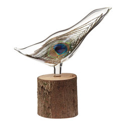 Inova Team-Wood&Borosilicate Glass Handmade Birds of A Feather Sculpture - Celebrate the special members of your flock with this beautiful handmade sculpture. A hand-blown glass bird perches atop a found tree limb, creating an ethereal display. For an added touch of magic, a vibrant feather is encased in the bird's fluid form, bringing the figure to life and giving you a one-of-a-kind work of art. Handmade by artist Kevin Smolark in Philadelphia.