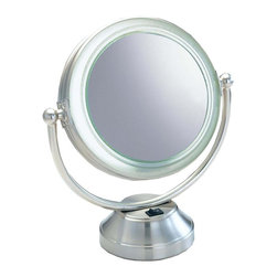 Floxite - Fluorescent Lighted Magnifying Vanity Mirror - Two sided mirror. Powerful 8x magnifying glass on one side and regular 1x on the other. Optical quality distortion free DFP glass. Bright even 360 degree glare free lighting. Adjustable angle for easy viewing. T5 bulb is easy to replace. Made from metal and glass. Brushed nickel finish. No assembly required. 12 in. W x 7 in. D x 14 in. H (5lbs.)Distortion free optical quality glass provides the clearest image possible. Elegant brushed nickel finish adds elegance to any decor.