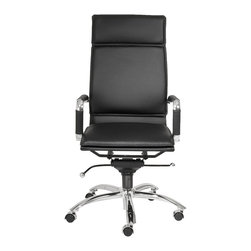 Euro Style - Euro Style Gunar Pro High Back Office Chair 01264BLK - If you're headed for the corner office, you're going to need one of these. The high back support adds obvious authority to any meeting. The reliable tilt mechanism invites you to lean back and survey all that you've accomplished.