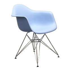 IFN Modern - Eames DAR Chair-Blue - The Eames DAR Chair was originally designed in 1948 and won an award that same year at the prestigious New York Museum of Modern Art. With its ergonomically molded seat and bold cast-iron wire legs, the Eames DAR Dining Chair was rightly seen as a design breakthrough. The award-winning, innovative style of married couple, Charles and Ray Eames, would shape the interiors of executive offices and homes for years to come. Slip into the ultimate Paris-chic seat, with this classic Fifties chair. This Eiffel Tower-inspired chair is synonymous with mid-twentieth century design expertise. The Eames DAR Chairs molded-fiberglass seat shell provides comfort, designer good looks, and effortless style. This item is not an original Charles & Ray Eames product, nor is it manufactured by or affiliated with Herman Miller.