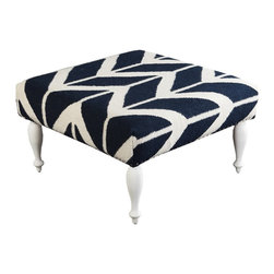 "Surya - Navy and Beige Ottoman by Surya - Sharp contrast of navy and beige is woven of 100% wool and upholstered around a wood base. Silver nail heads circulate around the lower perimeter. Elevated on four shapely legs, this can be used as additional seating or as a table because of its flat surface. Add a great tray for serving or display. (SY) 32"" square x 18"" high"