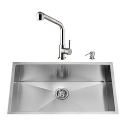 "VIGO Industries - VIGO All in One 30-inch Undermount Stainless Steel Kitchen Sink and Faucet Set - Add elegance and style to your kitchen with a VIGO All in One Kitchen Set featuring a 30"" Undermount kitchen sink, faucet, soap dispenser, matching bottom grid and sink strainer."