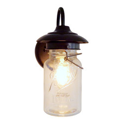 n/a - Exterior Vintage Mason Jar Sconce Light, Antique Black - Item Details