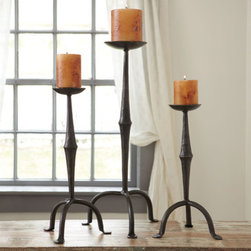 Hacienda Candleholders - Add depth and height to your fireplace with these iron candleholders.