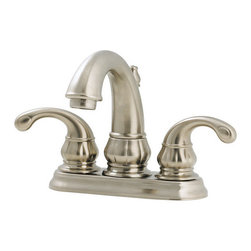 "Pfister - Pfister F-048-DK00 Brushed Nickel Treviso Treviso Centerset Bathroom - Treviso Centerset Bathroom Sink Faucet Low LeadAs one of PfisterÂ's most popular series, the Treviso collection of bathroom and kitchen faucets and fixtures is also one of its most complete. Italian-inspired design elements propel these fixtures to an elite level. Time-honored qualities like ornate lever handles and traditional-themed spouts give these fixtures a unique and distinct look and feel. The bathroom faucets include single- and double-handle control as well as centerset and widespread configurations, while tub and shower fixtures help complete the space.The same design elements are reflected in the kitchen faucets. High-arc spouts pair up with gorgeous lever handles. And with options like sidespray, soap dispenser, and pullout spray, PfisterÂ's Treviso collection is totally comfortable complementing any kitchen.All brass faucet body construction - Weight: 3.7 LBSCenterset mounting for 4"" centers 2 hole installations2 metal lever handles includedADA compliantEscutcheon (deck plate) is includedIndustry leading, lifetime ceramic disc valvePop up drain and assembly includedOverall height: 5.5625"" (measured from counter top to highest point of faucet)Spout height: 3.75"" (measured from counter top to spout outlet)Spout reach: 4.31"" (measured from center of faucet base to center of spout outlet)WaterSense certified - 1.5 gallon-per-minute flow rateInstalls onto decks (counter tops) up to 1.125"" thickLow lead compliant - complies with CA and VT low-lead requirements for plumbing productsDesigned for use with standard US plumbing connectionsAll necessary mounting hardware includedFully covered under Pfister s Pforever Lifetime WarrantyAbout PfisterFounded in 1910, Pfister (previously known as Price Pfister) is one of AmericaÂ's oldest and most experienced plumbing c"
