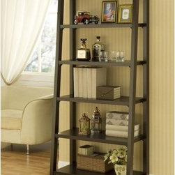 Hokku Designs - Heida Five-Shelves Ladder Style Bookcase / Display Cabinet in Warm Coffee Bean - Strut your stuff on our ladder-style bookcase, beautifully crafted with a warm coffee bean stain. Features five fixed shelves graduate in depth from top to bottom. Features: -Bookcase / Display cabinet. -Warm coffee bean finish. -Constructed of MDF and strength enhancing veneers. -Ladder style bookcase. -Five shelves graduate in depth from top to bottom. -Functional and versatile display cabinet boost a warm finish to easily blend with existing furniture. -Assembly required.