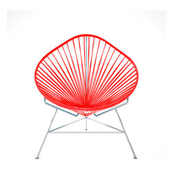 Acapulco Chair, Chrome Frame With Red Weave - A tripod metal base cradles this classic woven vinyl chair design. The modern look is ideal for outdoor use as it's weatherproof and easy to clean, but it's just as stylish inside your home. Pick from a rainbow of colors to add the perfect pop of color or stick with classic black.