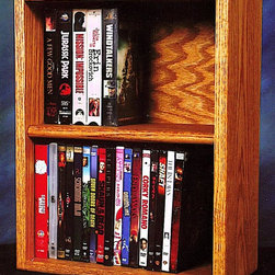 Wood Shed - 18 in. Desktop Media Storage (Unfinished) - Finish: UnfinishedTwo shelves. Capacity: 52 CD's or 44 DVD's or 24 VHS. Made from solid oak. Honey oak finish. 18 in. W x 7 in. D x 14.25 in. H