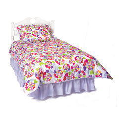 Room Magic - Heart Throb Twin Duvet cover/Bedskirt/Sham - Girls of every age will love this adorable designer fabric with graphic swirls of multi-colored hearts. Coordinating twin duvet cover, ruffled bed skirt and sham set make the Heart Throb collection complete.  Available in Twin size in the finest 100% Cotton poplin.