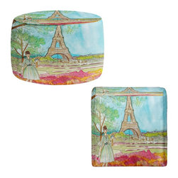 DiaNoche Designs - Ottoman Foot Stool by Diana Evans - Vintage Paris - Lightweight, artistic, bean bag style Ottomans.  Coming in 2 squares sizes and 1 round, you now have a unique place put rest your legs or tush after a long day!. Artist print on all sides. Dye Sublimation printing adheres the ink to the material for long life and durability. Printed top, khaki colored bottom, Machine Washable, Product may vary slightly from image.