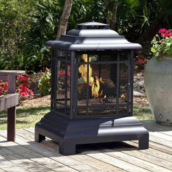 Rectangle Pagoda Patio Fireplace - I love this outdoor fireplace. It would be great on chilly evenings.