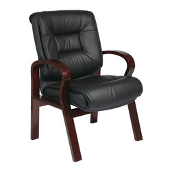 Office Star - Office Star Deluxe Mid Back Black Leather Visitors Chair With Mahogany Finish - Deluxe Mid Back Black Leather Visitors Chair with Mahogany Finish. Thick Padded Contour Seat and Back with Built-in Lumbar Support. Top Grain Leather. Mahogany Finish Padded Arms. Mahogany Finish Wood Frame. What's included: Office Chair (1).
