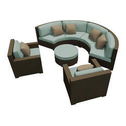 Forever Patio - Hampton Radius 5 Piece Outdoor Sectional Set, Chocolate Wicker and Spa Cushions - The Forever Patio Hampton Radius 5 Piece Patio Wicker Sectional Set with Turquoise Sunbrella cushions (SKU FP-HAMR-5SEC-CH-SP) creates a stylish outdoor lounge that is sure to enhance the function and look of any patio area. The set seats 6 to 7 adults comfortably, and features Chocolate resin wicker, which is made from High-Density Polyethylene (HDPE) for outdoor use. Each strand of this outdoor wicker is infused with the rich color and UV-inhibitors that prevent cracking, chipping and fading ordinarily caused by sunlight, surpassing the quality of natural rattan. Each piece features thick-gauged, powder-coated aluminum frames that make this modern round sofa set extremely durable. Also included with the set are fade- and mildew-resistant Sunbrella cushions. These plush cushions and generously sized seats create a curved patio sofa that rivals the comfort of an indoor sectional.