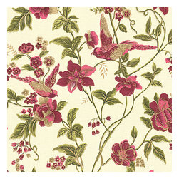 Pink Floral Bird Organic Cotton Fabric - Stunning hand blockprinted chinoiserie-esque floral & bird motif in magenta, rose & green with shimmery hints of gold.Recover your chair. Upholster a wall. Create a framed piece of art. Sew your own home accent. Whatever your decorating project, Loom's gorgeous, designer fabrics by the yard are up to the challenge!