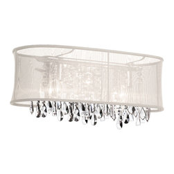 Dainolite - Dainolite 85324W-46-117 4 Light Crystal Vanity Pc Finish - Dainolite 85324W-46-117 4 Light Crystal Vanity PC Finish Oyster Oval Organza Shade