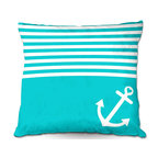 DiaNoche Designs - Pillow Woven Poplin by Organic Saturation - Teal Love Anchor Nautical - Toss this decorative pillow on any bed, sofa or chair, and add personality to your chic and stylish decor. Lay your head against your new art and relax! Made of woven Poly-Poplin.  Includes a cushy supportive pillow insert, zipped inside. Dye Sublimation printing adheres the ink to the material for long life and durability. Double Sided Print, Machine Washable, Product may vary slightly from image.