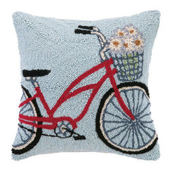 Springtime Bicycle Hook Pillow - Brighten up your home with this adorable Springtime Bicycle wool hook pillow featuring a sky blue background with a red bike delivering daisies.