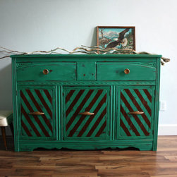 Vintage Art Deco Emerald Green Buffet Dresser by The Turquoise Iris - This emerald green sideboard would make a cool statement in the dining room. I imagine a large, vintage wood table, some black Louis chairs and a super oversize crystal light fixture.