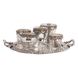 """Imax Worldwide Home - Ramira Glass Votive Holders and Brass Mirror Tray - Set of 6 - This six piece set of mercury glass votive candleholders have intricate chain embellishments and an antiqued silver tone mirrored tray.; Materials: 70% Brass, 30% Glass; Country of Origin: India; Weight: 3.25 lbs; Dimensions: 12""""H x 12""""W x 3.5"""""""