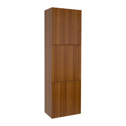 """Fresca - Fresca Teak Bathroom Linen Side Cabinet w/ 3 Large Storage Areas - Dimensions:  17.75""""W x 12""""D x 59""""H. Materials:  MDF/Laminate. 3 Large Storage Areas w/ Soft Closing Doors. . . . . . This great side cabinet comes with a Teak finish.  It features 3 large storage areas with soft closing doors."""