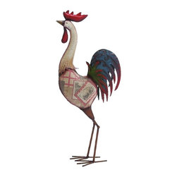 Benzara - Colorful Metal Rooster Statue Picture Home Kitchen Accent Decor - Attractive tall colorful metal rooster statue figurine with country style picture details home kitchen accent decor