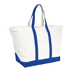 Mercury Luggage - Zipper Top Boat and Beach Tote in Royal Blue - 24 oz. cotton canvas tote with 8.5 inch handles. Full length zippered top. Stand alone reinforced flat canvas bottom. Double stitched seams for durability and strength. 17 in. L x 10.5 in. W x 19 in. H