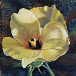"""Yellow Hibiscis""  (Original) by Nilha  Pearce - I grew up surrounded by flowers. My great grandmother seemed to know the name of every flower. My grandmother and my mother both inherited her love of flowers and had beautiful gardens.  Although I do not have their green thumb, I love to paint flowers. This yellow hibiscus reminds me of the three much loved ladies in my life."