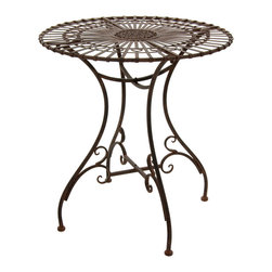 Oriental Furniture - Rustic Garden Table - Rust Patina - Perfect for the patio, garden, or living room, this stunning wrought iron table features a floral medallion in the center surrounded by radiant lines in a sunburst pattern. With its handsome faux-rust patina, this table is a handsome surface for serving tea, entertaining guests, or displaying a bouquet of flowers. Lightweight and convenient to transport, this table is a hassle-free way to bring a classic antique accent to your home.