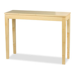 """Bamboogle - Bamboogle  10-1448  Brazil Bamboo Console Table  48""""x14""""x30"""" - The Bamboogle Brazil Collection is a very affordable and excellent value for solid hard wood furniture being partially handmade, using an environmentally earth friendly species of bamboo that is as hard as oak with modern, simple, sophisticated lines for accent occasional tables and great for small furniture needs in any home, apartment or condo and for any kitchen, living room, entry, hallway, bedroom and den or bar. Our 'Brazil' Light Beach Finished Console Table from Bamboogle insures that you're purchasing an item with special qualities hidden inside.  With the Beach Finish, the grain patterns become the most intriguing on the legs and side rails.  Since each leg and is made of approximately 20 laminated pieces, each side of the leg has a different grain pattern.  This feature is a customer favorite in our handmade tables.  It is machine tooled by hand, and made of solid bamboo with no veneers, filler wood, or particle board.  It's all bamboo, which is one of Earth's truly plentiful and sustainable resources.  The clean lines of this piece, the slightly tapered legs, floating top design and the intricate laminations of bamboo work together to give a stylish and modern look that works in both traditional and contemporary settings.  Bamboo is a good source for furniture as it is 15% harder than maple which ensures long lasting beauty and strength.  If it's a beautiful piece of handmade-handtooled furniture that you are after, then you have it here.  If you want to do your small part in following the trend toward environmental sensitivity, the story gets better.                                   Bamboo is a remarkable natural resource for several reasons.  It grows in vast densely packed forests and must be harvested to keep the trees from overcrowding.  Our bamboo comes out of the ground 8'-10' in diameter and grows 2-3 feet per day for thirty days until it reaches nearly 100 feet in height"""