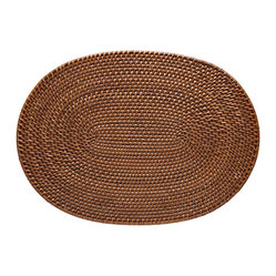 Oval Rattan Placemat Set of 2, Honey Brown