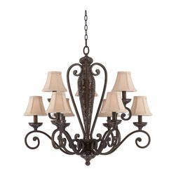 Triarch - Triarch Jewelry Chandelier X-44413 - The Jewelry Collection 9-Light Chandelier in Harvest Bronze with breath-taking Mosaic Glass Accents with silk back ecru linen shades