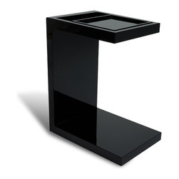 Zuri Furniture - Black Monk Gloss End Table with Sliding Tray - Minimalist design with a sleek, sophisticated finish. The Monk black lacquer side table boasts a rich high gloss frame and removable sliding tray. This is the ultimate contemporary piece designed to blend to any affluent living space.
