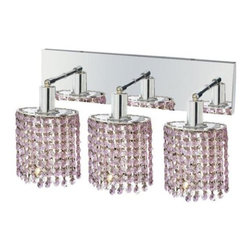 "PWG Lighting / Lighting By Pecaso - Wiatt 3-Light 14.5"" Crystal Vanity Fixture 1091W-O-E-RO-SS - Whether shown individually or as a collection, our Mini Crystal Chandeliers are stunning in any fashion. This stylish collection offers stunning crystal in a range of colorful options to suit every decor."