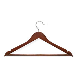 Honey Can Do - 24-Pack Suit Hanger in Cherry - Set of 24. 360 degree swivel rod hook. Non-slip grip. Streamlined shape. Keeps clothing looking freshly-pressed. Lifetime limited warranty. Made from wood, vinyl and steel. Cherry finish. No assembly required. 17.75 in. L x 0.45 in. W x 9 in. H (6.10 lbs.)Beautiful, wooden clothes hanger has a contoured design perfect for keeping shirts, dresses, and jackets wrinkle-free. A gorgeous upgrade for any closet space.