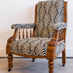 Horatio, Antique Victorian Library Chair Newly Upholstered - Horatio is meant for the grand, private art galleries and libraries of the high Victorian era.  He has been clad in a suit of stylized acanthus, echoing the chair's own carving, and likely that of its intended surroundings.  It is not hard to envision Andrew Carnegie or Henry Clay Frick enjoying a fine scotch, contemplating a newly acquired Old Master painting, and draping an elegant, cigar-holding hand over Horatio's padded chair arm.  Yet remarkably, Horatio was created for a distinctly different purpose; he was destined instead to grace the grand halls of a house of god in the late 19th century.  This was surely also a decent existence for such a sophisticated piece, as long as there was some alter wine in the vicinity to make up for the lack of scotch.