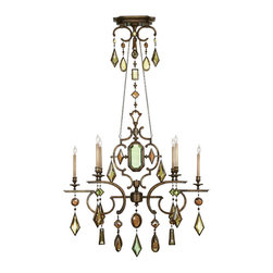 Fine Art Lamps - Fine Art Lamps 726040-1ST Encased Gems Gold Multi Color Crystal 6 Light Chandeli - 6 Bulbs, Bulb Type: 60 Watt Candelabra; Weight: 42lbs