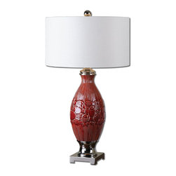 Joshua Marshal - Red Ceramic And Polished Nickel Malabar Table Lamp With Cylinder Shade - Red Ceramic And Polished Nickel Malabar Table Lamp With Cylinder Shade