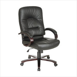 Office Star - Office Star Desk Office Chair with Mahogany Finish Wood Base and Arms - Office Star - Office Chairs - WD5330EC3 - The stylish office star desk office chairbrings efficiency and morale to your workplace. The contour seat and back with built in lumbar support ensure comfort and good posture. Get the job done with time to spare with the desk office chair.