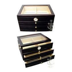 Quality Importers - Palermo Desktop Humidor - Ideal for those who crave precise organization. Features a tempered glass top  gold plated handles and drawer pulls  scratch-resistant  felt-lined bottom plus: Holds up to 150 Cigars  Tempered Beveled Glass Top  1 Large Rectangle Humidifier  1 Front Mount Glass Hygrometer with Brass Frame  3 Spanish Cedar Drawers with 1 Divider in each  Lined with Premium Kiln Dried Spanish Cedar  Gold Plated Handles and 3 Drawer Pulls  Engraveable Brass Nameplate  Scratch Resistant Felt Lined Bottom  Mahogany Finish  This item cannot be shipped to APO/FPO addresses. Please accept our apologies.