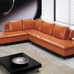 Morano Leather Sectional C024 - This two pieced modern sectional's contemporary styling will bring elegance and distinction to your living room decor!