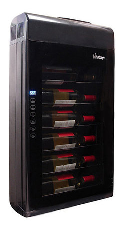 VinoTemp - 6 Bottle Wall-Mounted Thermoelectric Wine Cooler - Savor a glass of your favorite wine served at the perfect temperature with the NewAir AW-181E thermoelectric wine cooler. It also features thermoelectric cooling system, which reduces vibration and allows you the peace of mind of knowing that your wine collection is being properly chilled and rested for your enjoyment.