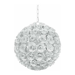 White Cypress 14-inch Rose Pomander Pendant Light