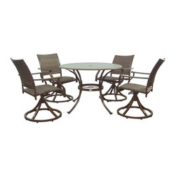 Hospitality Rattan - Panama Jack Island Cove Slatted Swivel Rocking Patio Dining Set - Seats 4 Multic - Shop for Tables and Chairs Sets from Hayneedle.com! You may want to plan a few extra courses for your next meal on the Panama Jack Island Cove Slatted Swivel Rocking Patio Dining Set - Seats 4 because we predict that you won't be going anywhere soon. This casual and luxurious set features classically inspired lines and a warm hue on the powder-coated espresso finish that makes it an ideal addition to any patio decor style. Each piece is crafted from lightweight rustproof aluminum making it resistant to corrosion and staining outdoors. The seats and seat backs incorporate a material known as Viro a synthetic wicker that has all the charm and feel of real wicker while boasting superior durability and resistance to fading and rot. Heavy-duty hinges offer the smooth-moving rocking and swivel motion for a more relaxed and leisurely experience. The slat-top table gives you a sturdy functional surface that's lightweight and easy to maintain and the central umbrella hole lets you add an umbrella for those sunny days.About Hospitality RattanHospitality Rattan has been a leading manufacturer and distributor of contract quality rattan wicker and bamboo furnishings since 2000. The company's product lines have become dominant in the Casual Rattan Wicker and Outdoor Markets because of their quality construction variety and attractive design. Designed for buyers who appreciate upscale furniture with a tropical feel Hospitality Rattan offers a range of indoor and outdoor collections featuring all-aluminum frames woven with Viro or Rehau synthetic wicker fiber that will not fade or crack when subjected to the elements. Hospitality Rattan furniture is manufactured to hospitality specifications and quality standards which exceed the standards for residential use.Hospitality Rattan's Environmental Commitment Hospitality Rattan is continually looking for ways to limit their impact on 