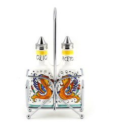 Artistica - Hand Made in Italy - RAFFAELLESCO: Oil and Vinegar cruet Sq. Bottle on Chrome Rack - Metal parts made in the USA - Ceramic parts hand painted and imported from Deruta-Italy.