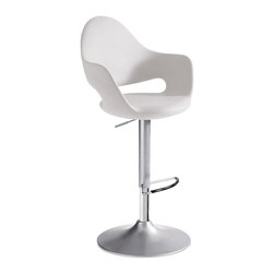 DomItalia Furniture - Soft-SG Satinated Aluminum Adjustable Swivel Stool in White - With design by Fabio Di Bartolomei, the Soft-SG Swivel Stool in Satinated Aluminum and White is swivel stool with adjustable height (from 59 cm to 85 cm). Satin finish aluminum varnished steel structure and polyurethane body, available in white color.