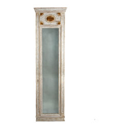 Fra Angelico Trumeau Mirror - A classic example of an 18th century French mirror, the Fra Angelico Trumeau begins at the top panel with a gold leaf sunburst motif. Complete with traditional window-style molding in a white wash finish this mirror is sure to add space, light and depth to any area of your home while adding European charm as well.