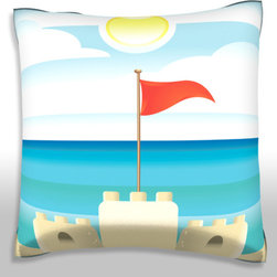 Custom Photo Factory - Sandcastle on Beach Pillow.  Polyester Velour Throw Pillow - Sandcastle on Beach Pillow. 18 Inches x 18 Inches  Made in Los Angeles, CA, Set includes: One (1) pillow. Pattern: Full color dye sublimation art print. Cover closure: Concealed zipper. Cover materials: 100-percent polyester velour. Fill materials: Non-allergenic 100-percent polyester. Pillow shape: Square. Dimensions: 18.45 inches wide x 18.45 inches long. Care instructions: Machine washable